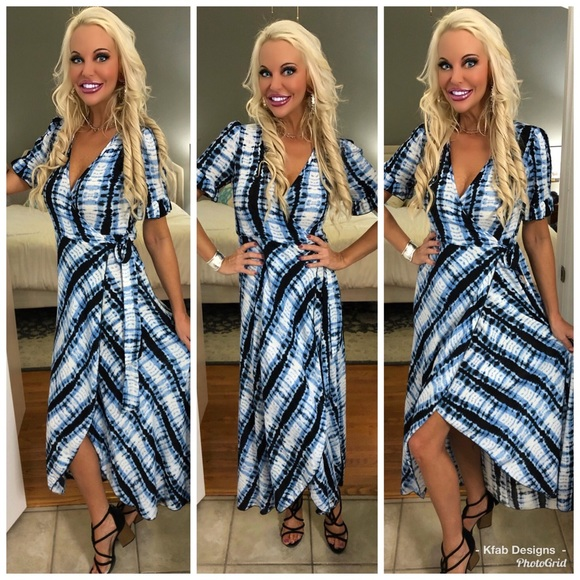 152be09eacb9 Dresses | Last 1 Tie Dye Wrap Maxi Dress With Ruffles | Poshmark